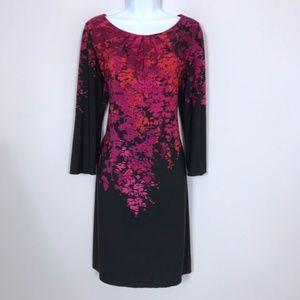 London Times | Black Pink Floral Shift Dress Large
